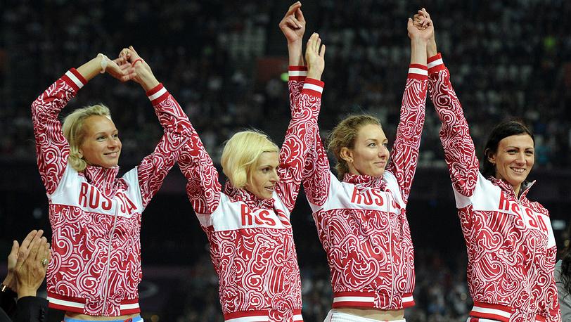 Женская сборная России - серебряный призер Олимпийских игр по легкой атлетике в эстафете 4х400 м