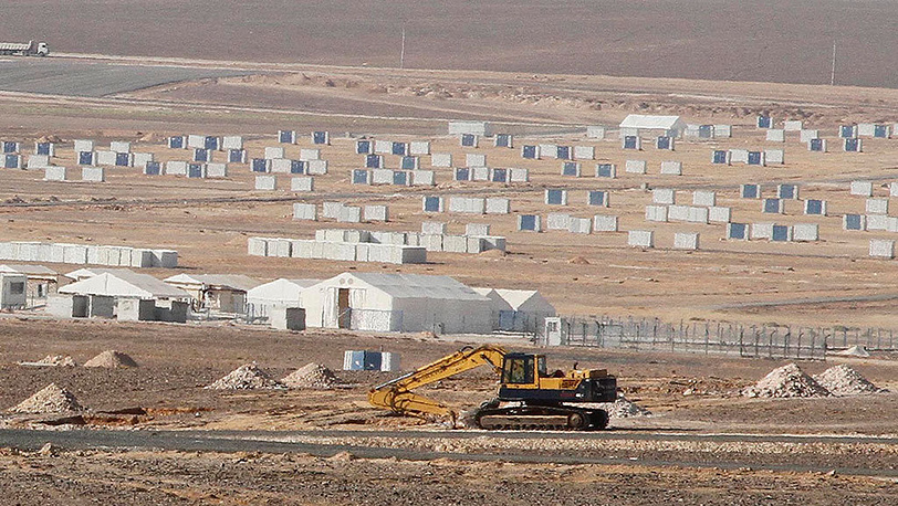 Общий вид лагеря сирийских беженцев в городе Азрак, Иордания