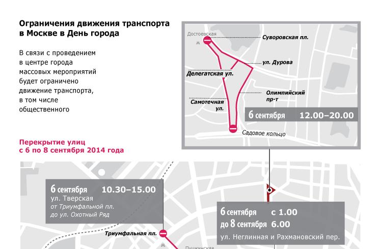 Ограничения движения в Москве в День города