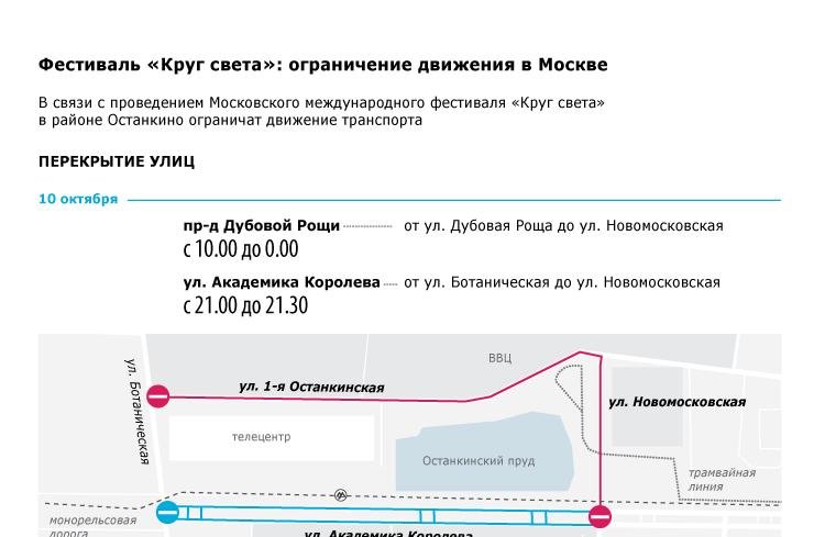 Фестиваль «Круг света»: ограничения движения в Москве