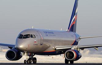 """Самолет Superjet 100 авиакомпании """"Аэрофлот"""""""