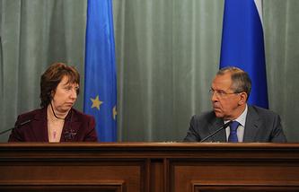 Заместитель председателя Европейской комиссии Кэтрин Эштон и глава МИД РФ Сергей Лавров