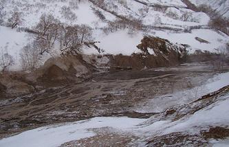 Селевой поток в Долине гейзеров на Камчатке