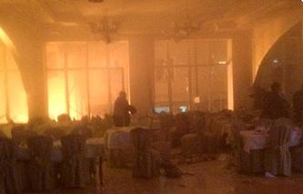 """Зал ресторана  """"Золотая империя"""" после взрывов, Махачкала, 17 января 2014"""