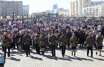 """Архив. """"Бессмертный полк"""" в Якутске, 2013 год"""