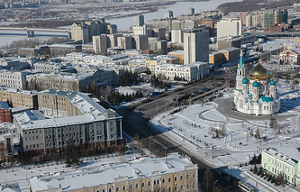 Вид Омска (слева здание областного правительства)