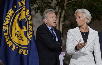 Официальный представитель Международного валютного фонда (МВФ) Джерри Райс и глава МВФ Кристин Лагард