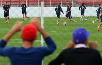 Тренировка сборной России в Иту