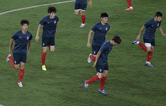 Тренировка футбольной сборной Южной Кореи