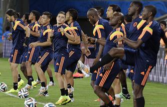 Тренировка игроков сборной Колумбии