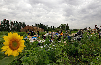 На месте падения пассажирского самолета Boeing 777