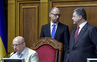 Александр Турчинов,  Арсений Яценюк и Петр Порошенко
