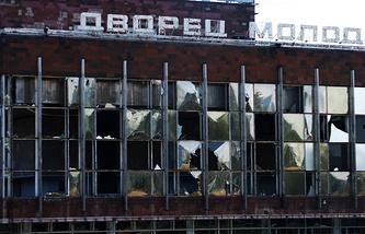 Последствия артобстрела в Киевском районе Донецка