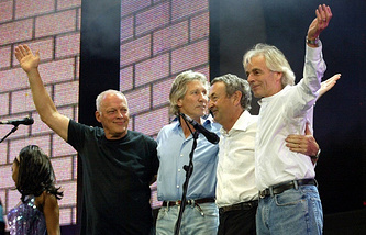 """Участники Pink Floyd на благотворительном концерте """"Live8"""" в 2005 году"""