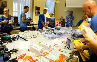 Учения немецких военнослужащих по противодействию эпидемии лихорадке Эбола