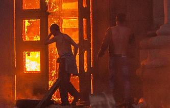 Пожар в здании областного совета профсоюзов