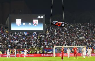 Игровой момент матча отбора ЧЕ 2016 Сербия - Албания