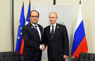 Австралия. Брисбен. 15 ноября. Франсуа Олланд и Владимир Путин во время двусторонней встречи в рамках саммита G20