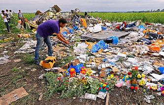 На месте крушения Boeing 777 около села Грабово Донецкой области, 20 июля 2014