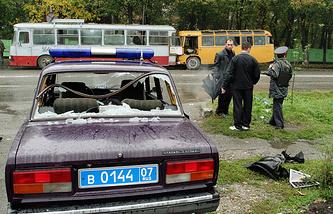 На одной из улиц Нальчика после нападения террористов, 2005 год