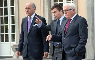 Министры иностранных дел Лоран Фабиус Франции, Павел Климкин Украины, Франк-Вальтер Штайнмайер Германии