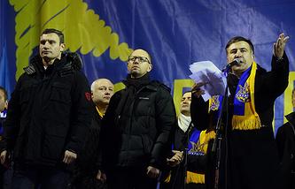 Виталий Кличко, Арсений Яценюк и Михаил Саакашвили