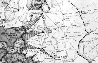 """Карта с нанесенным на ней планом """"Барбаросса"""""""