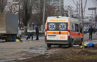 """Проспект Маршала Жукова, где во время шествия в честь годовщины """"Евромайдана"""" произошел взрыв"""