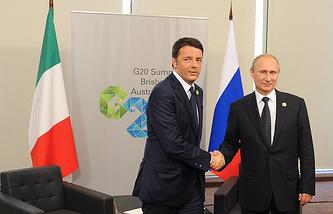 Председатель Совета министров Италии Маттео Ренци и президент России Владимир Путин (слева направо) во время встречи в рамках саммита G20 в Австралии