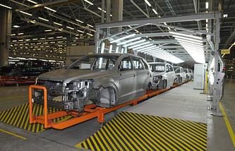 В одном из цехов завода General Motors в Санкт-Петербурге