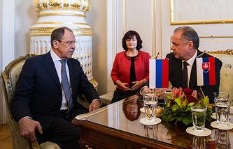 Глава МИД РФ Сергей Лавров и президент Словакии Андрей Киска