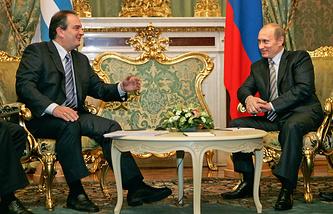 Президент России Владимир Путин и премьер-министр Греции Константинос Караманлис в Кремле, 2007 год