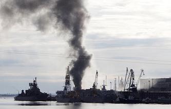 """Пожар на судоремонтном заводе """"Звездочка"""""""