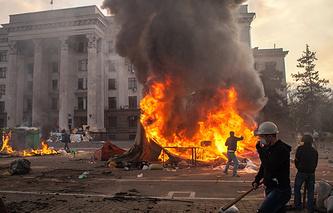 Пожар в Доме профсоюзов в Одессе. 2014 г.