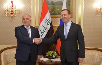 Премьер-министр Ирака Хейдар аль-Абади и премьер-министр РФ Дмитрий Медведев