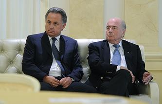 Министр спорта РФ Виталий Мутко и президент ФИФА Йозеф Блаттер