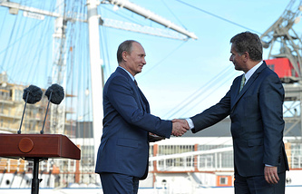 Президент России Владимир Путин и президент Финляндии Саули Ниинисте. Финляндия, 2013 год