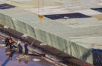 На стройплощадке стадиона к чемпионату мира по футболу 2018 года в Самаре