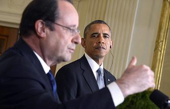 Президент Франции Франсуа Олланд и президент США Барак Обама