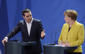 Премьер-министр Греции Алексис Ципрас и канцлер ФРГ Ангела Меркель