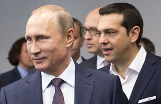 Президент РФ Владимир Путин и премьер-министр Греции Алексис Ципрас