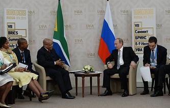 Встреча президента РФ Владимира Путина с президентом ЮАР Джейкобом Зумой