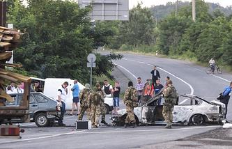 Последствия нападения боевиков в Мукачево, 11 июля