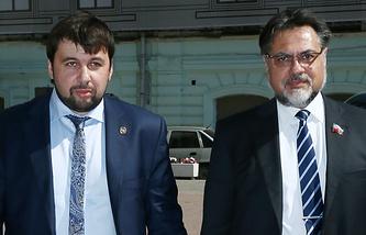 Представители ДНР и ЛНР в контактной группе по урегулированию ситуации по Украине Денис Пушилин и Владислав Дейнего