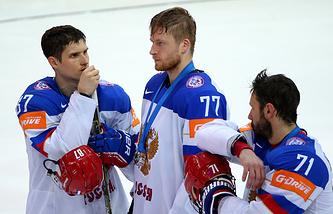 Хоккеисты сборной России после финального матча чемпионата мира