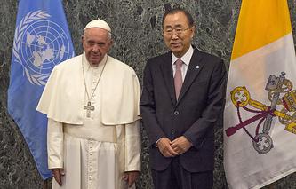 Папа римский Франциск и генеральный секретарь ООН Пан Ги Мун