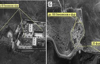 Съемка, проведенная 14 ноября 2015 года в районах иракских населенных пунктов ТАВАН и ЗАХО, позволила обнаружить тысячу сто четыре бензовоза и большегрузные фуры