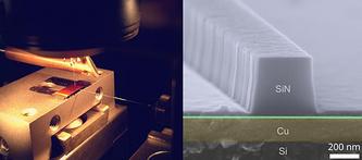 Наноразмерные плазмонные медные волноводы на кремниевом чипе в ближнепольном оптическом микроскопе (слева) и их изображение, полученное электронной микроскопией (справа)