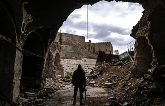 Вид на Цитадель Алеппо из Старого города, Алеппо, 5 марта