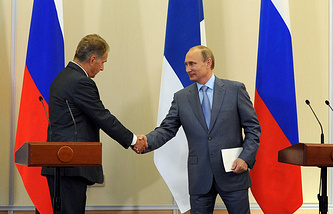 Президент Финляндии Саули Ниинисте и президент России Владимир Путин, 2014 год